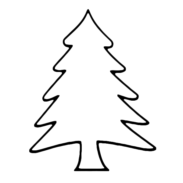Pine Tree Outline on Snow 1 3 Inches