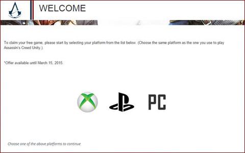 Ya disponible la web para reclamar el juego gratis del season pass de Assassin's Creed Unity 1